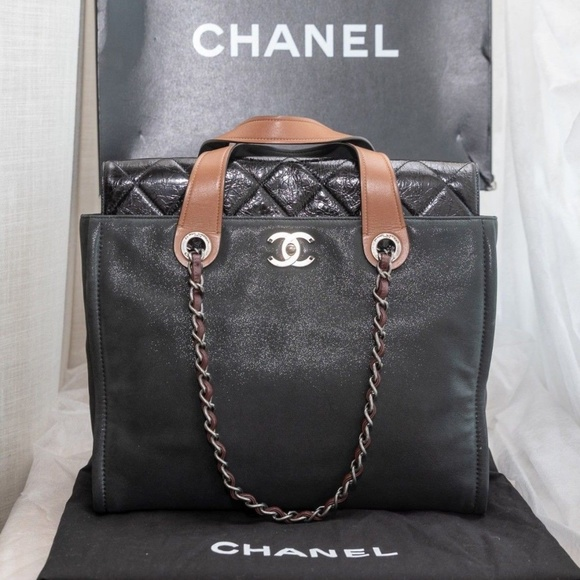 0b597c1d9bcd CHANEL Handbags - 100% Auth CHANEL Iridescent Calfskin Portobello